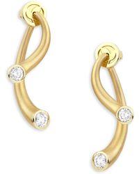 Carelle - Whirl Diamond & 18k Yellow Gold Stud & Ear Jacket Set - Lyst