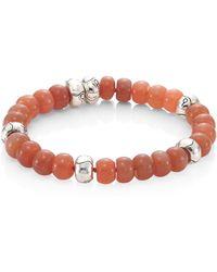 John Hardy - Bamboo Peach Moonstone & Sterling Silver Bead Bracelet - Lyst