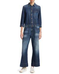 Emporio Armani - Denim Three-quarter Sleeve Jumpsuit - Lyst