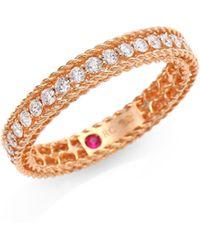 Roberto Coin - Symphony Braided Diamond & 18k Rose Gold Ring - Lyst