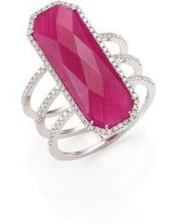 Meira T - Ruby, Pavé Diamond, 14k White Gold & Silver Ring - Lyst