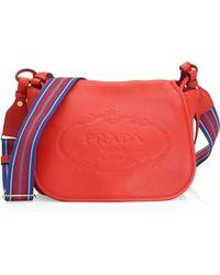 dfef29b12321 Lyst - Prada Daino Small Shoulder Bag in Red