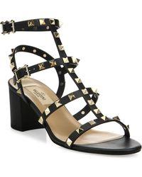 Valentino - Rockstud Leather Block Heel Sandals - Lyst