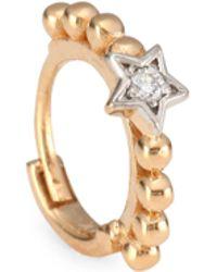 Kismet by Milka - Diamond & 14k Rose Gold Hoop Single Earring - Lyst