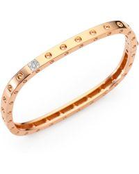 Roberto Coin - Pois Moi Diamond & 18k Rose Gold Single-row Bangle Bracelet - Lyst