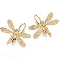 Temple St. Clair - Dragonfly Pave Diamond & 18k Yellow Gold Earrings - Lyst