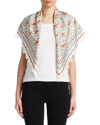 Tory Burch - Crocodile Fringed Silk Sqaure Scarf - Lyst