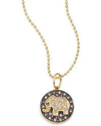 Sydney Evan | Small Elephant Diamond & 14k Yellow Gold Medallion Necklace | Lyst