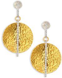 Gurhan - Lush Diamond, 24k Yellow Gold & 18k White Gold Drop Earrings - Lyst