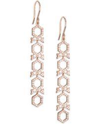 Astley Clarke - 14k Rose Gold & Diamond Honeycomb Drop Earrings - Lyst