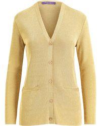 Ralph Lauren Collection - Women's Knit Lurex Cardigan Sweater - Gold - Lyst