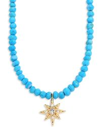 Anzie | Aztec Starburst Diamond, Topaz & Turquoise Beaded Necklace | Lyst
