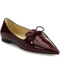 Jimmy Choo | Genna Patent Leather Point Toe Flats | Lyst