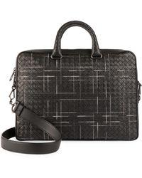 Bottega Veneta - Multi-nero Leather Briefcase - Lyst
