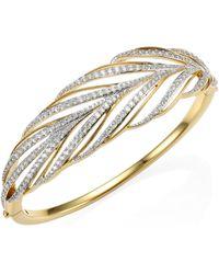 Adriana Orsini - Pirouette Leaf Crystal Bangle Bracelet - Lyst