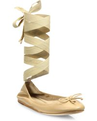 Saks Fifth Avenue - Leather Ankle-wrap Ballet Flats - Lyst
