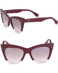 Fendi - 52mm Two-tone Cat Eye Sunglasses - Lyst