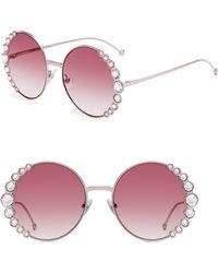 97f2a14b049 Fendi - 58mm Oversized Round Swarovski Crystal Sunglasses - Lyst