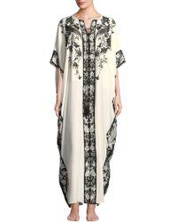 Natori Peaceful Petals Silk Nightgown - White