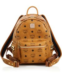 MCM - Stark Side Stud Mini Coated Canvas Backpack - Lyst