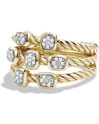 David Yurman - Cable Collectibles Confetti Ring With Diamonds In Gold - Lyst