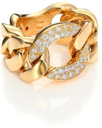 Roberto Coin - Gourmette Diamond & 18k Yellow Gold Chain Ring - Lyst