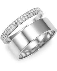 Repossi - Two Row Diamond & 18k White Gold Berbere Ring - Lyst