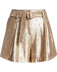 Jonathan Simkhai Distressed Sequin Pleated Shorts