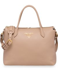 45ba66862294 Lyst - Prada Vitello Daino Singlestrap Hobo Bag in Brown