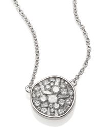 Plevé - Ice Diamond & 18k White Gold Pebble Pendant Necklace - Lyst