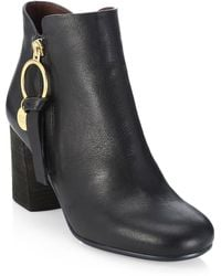 See By Chloé - Louise Stacked Heel Booties - Lyst