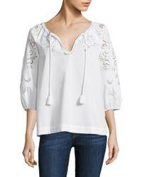 Trina Turk - Tassel V-neck Cotton Top - Lyst