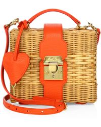 Mark Cross | Harley Rattan & Leather Convertible Clutch | Lyst
