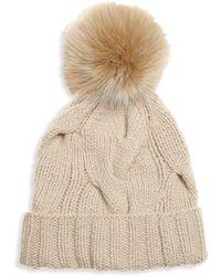 939583e3218 Berrtto Fox Fur Pom Pom & Cashmere Beanie