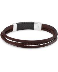 Tateossian - Silver And Leather Slide Multi-strand Bracelet - Lyst