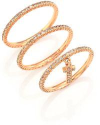 LJ Cross | Champagne Diamond & 14k Rose Gold Cross Charm Ring Set | Lyst