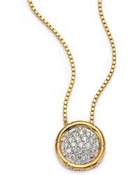 John Hardy - Bamboo Diamond & 18k Yellow Gold Small Round Pendant Necklace - Lyst