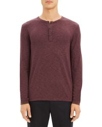 Theory - Long Sleeve Snap Henley - Lyst