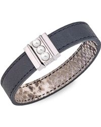 Majorica - Amazona 5mm Mabe Pearl Leather Magnetic Bracelet - Lyst