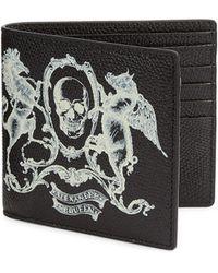 Alexander McQueen - Coat Of Arms Printed Black Leather Billfold Wallet - Lyst
