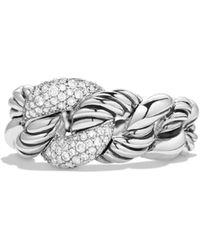 David Yurman - Belmont Curb Link Ring With Diamonds - Lyst
