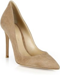 1a3a78ffa38d Gianvito Rossi Ellipsis High-back Suede Point Toe Pumps in Gray - Lyst