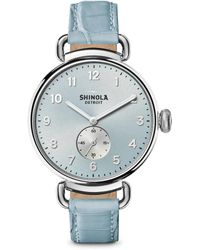 Shinola - The Canfield Stainless Steel & Alligator Strap Watch - Lyst