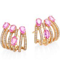 Hueb - Rainbow Diamond, Pink Sapphire & 18k Rose Gold Ear Cuffs - Lyst