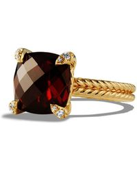 David Yurman - Châtelaine Ring With Garnet And Diamonds In 18k Gold - Lyst