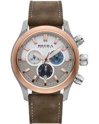 Brera Orologi - Eterno Chrono Two-tone Stainless Steel & Leather Chronograph Strap Watch - Lyst