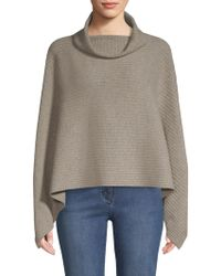 St. John - Ribbed Cashmere Cowlneck Poncho - Lyst