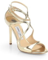 Jimmy Choo - Lang 100 Strappy Mirror Leather Sandals - Lyst