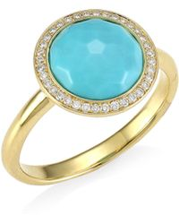 Ippolita - Rock Candy® 18k Yellow Gold, Round Turquoise & Diamond Ring - Gold - Lyst