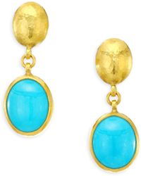 Gurhan - Amulet Hue Turquoise, Oval Cabochon & 24k Yellow Gold Drop Earrings - Lyst